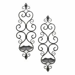 WALL SCONCE SET: 2 Piece Black Iron Fleur-De-Lis Hanging Can