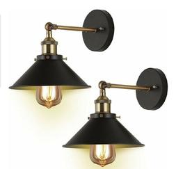 Wall Sconces Light 2-Pack JACKYLED E26 E27 Base Black Wall I