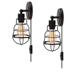 Wire Cage Industrial Wall Sconce Plug-in Wall Light Vintage