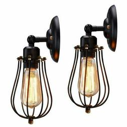 Wire Cage Wall Sconce KingSo 2 Pack Dimmable Black Metal Ind
