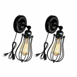 Wire Cage Wall Sconce 2 Pack Industrial Wall Lamp Plug-in Co
