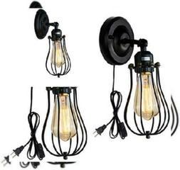 Wire Cage Wall Sconce 2 Pack Industrial Lamp Plug-in Cord Bl