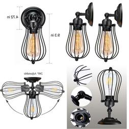 WIRE CAGE WALL SCONCE LICPERRON VINTAGE STYLE BEDROOM GARAGE
