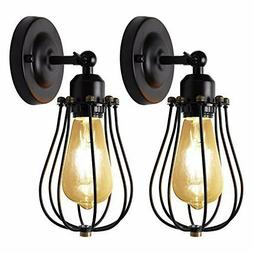 Wire Cage Wall Sconces UL 2-Pack JACKYLED Vintage Industrial