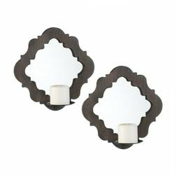 Wood Framed Mirrored Wall Sconces Pillar Candles Bathroom Li