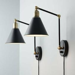 Wray Black and Antique Brass Plug-In Wall Lamp Set of 2